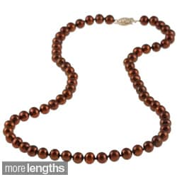 DaVonna 14k 6.5-7mm Chocolate Freshwater Cultured Pearl Strand Necklace (16-36 inches)
