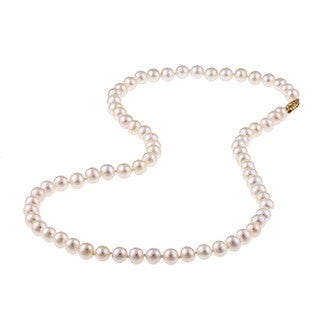 DaVonna 14k Gold High Luster White FW Pearl 20-inch Necklace (6.5-7 mm)