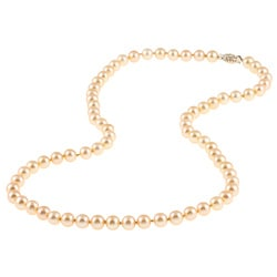 DaVonna 14k Gold Golden FW Pearl 20-inch Necklace (6.5-7 mm)
