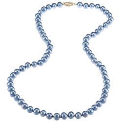 DaVonna 14k Gold Blue FW Pearl 20-inch Necklace (6.5-7 mm)