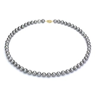 DaVonna 14k Gold Grey FW Pearl 24-inch Necklace (6.5-7 mm)