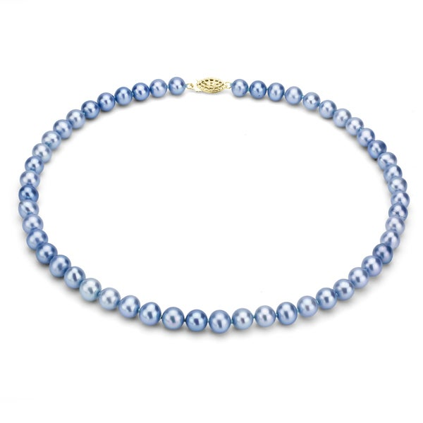 DaVonna 14k Gold Blue FW Pearl 36-inch Necklace (6.5-7 mm)