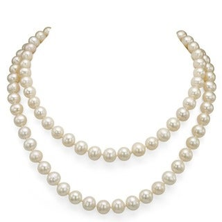 DaVonna White FW Pearl 48-inch Endless Necklace (6.5-7 mm)