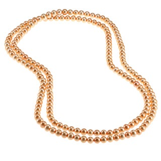 DaVonna Golden FW Pearl 48-inch Endless Necklace (6.5-7 mm)