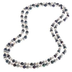 DaVonna Multi Dark FW Pearl 48-inch Endless Necklace (6.5-7 mm)
