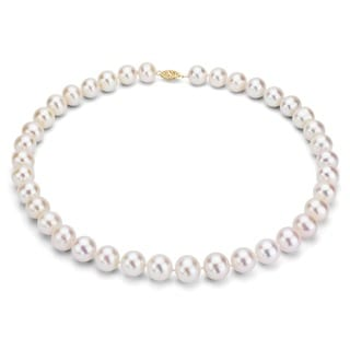 DaVonna 14k Gold White FW Pearl 16-inch Necklace (7-7.5 mm)