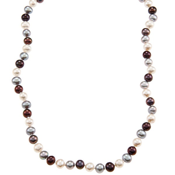 DaVonna 14k 7-7.5mm Dark-Multi Freshwater Cultured Pearl Strand Necklace (16-36 inches)