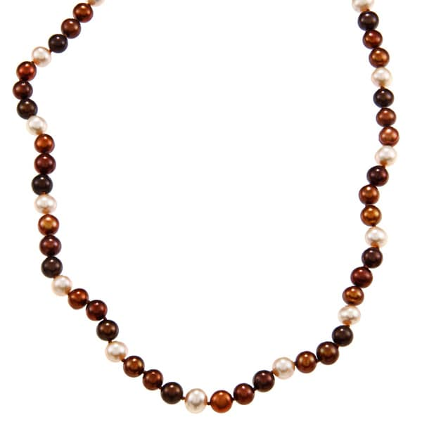 DaVonna 14k 7-7.5mm Chocolate-Multi Freshwater Cultured Pearl Strand Necklace (16-36 inches)