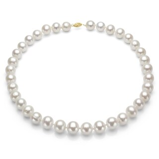 DaVonna 14k Gold High Luster White FW Pearl 24-inch Necklace (7-7.5 mm)