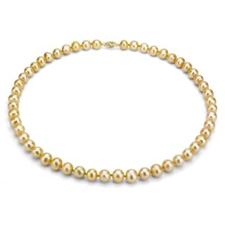 DaVonna 14k Gold Golden FW Pearl 24-inch Necklace (7-7.5 mm)