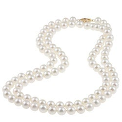 DaVonna 14k Gold High Luster White FW Pearl 30-inch Necklace (7-7.5 mm)