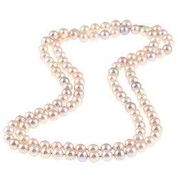 DaVonna 14k Gold Multi Pink FW Pearl 36-inch Necklace (7-7.5 mm)