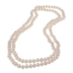 DaVonna White Freshwater Pearl 48-inch Endless Necklace (7-7.5 mm)