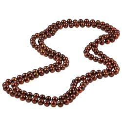 DaVonna Chocolate FW Pearl 48-inch Endless Necklace (7-7.5 mm)