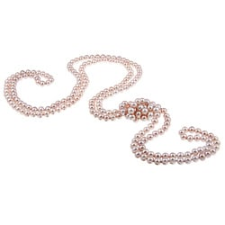 DaVonna Pink FW Pearl 72-inch Endless Necklace (7-7.5 mm)