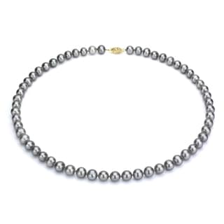 DaVonna 14k Gold Grey FW Pearl 16-inch Necklace (7.5-8 mm)