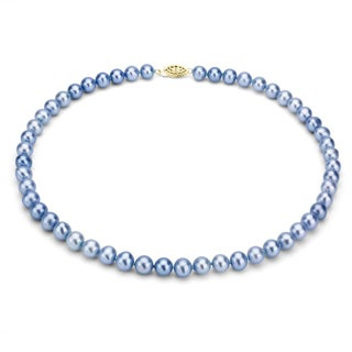 DaVonna 14k Gold Blue FW Pearl 16-inch Necklace (7.5-8 mm)