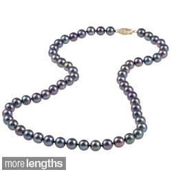 DaVonna 14k 7.5-8mm Black Freshwater Cultured Pearl Strand Necklace (16-36 inches)