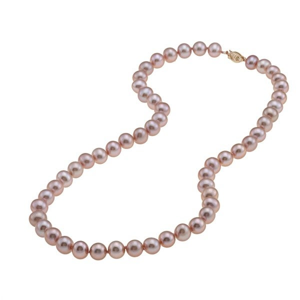 DaVonna 14k 7.5-8mm Pink Freshwater Cultured Pearl Strand Necklace (16-36 inches)