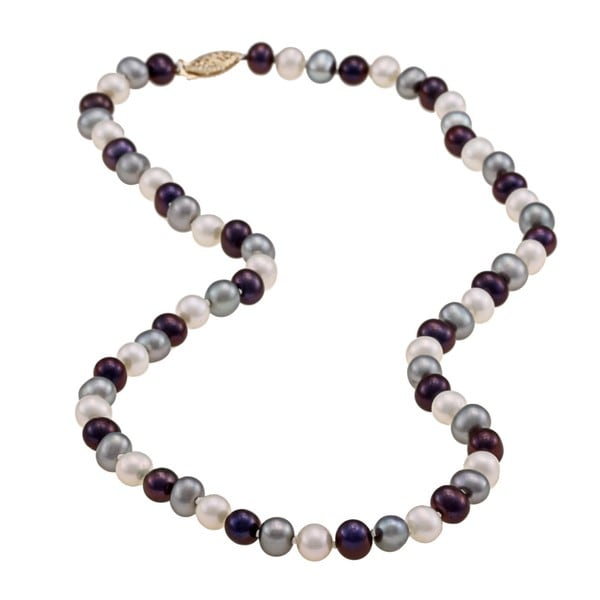 DaVonna 14k 7.5-8mm Dark-Multi Freshwater Cultured Pearl Strand Necklace (16-36 inches)