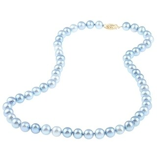 DaVonna 14k 7.5-8mm Bule Freshwater Cultured Pearl Strand Necklace (16-36 inches)