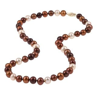 DaVonna 14k 7.5-8mm Chocolate-Multi Freshwater Cultured Pearl Strand Necklace (16-36 inches)