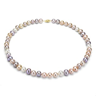 DaVonna 14k Gold Multi Pink FW Pearl 24-inch Necklace (7.5-8 mm)