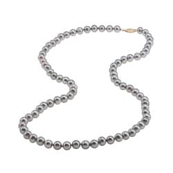 DaVonna 14k Gold Grey FW Pearl 24-inch Necklace (7.5-8 mm)