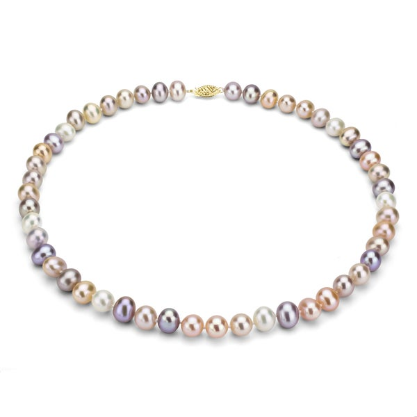DaVonna 14k Gold Multi Pink FW Pearl 36-inch Necklace (7.5-8 mm)