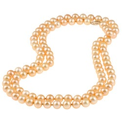 DaVonna 14k Gold Golden FW Pearl 36-inch Necklace (7.5-8 mm)