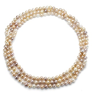 DaVonna Multi Pink FW Pearl 80-inch Endless Necklace (7.5-8 mm)