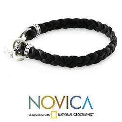 Braided Leather 'Time' Men's Bracelet (Indonesia)