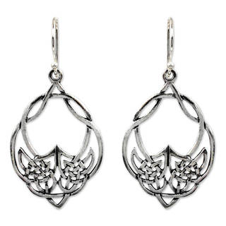 Sterling Silver 'Lotus Lace' Dangle Earrings (Thailand)