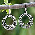 Sterling Silver 'Dream Catcher' Dangle Earrings (Thailand)