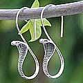 Sterling Silver 'Cobra Guardian' Dangle Earrings (Thailand)