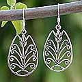 Sterling Silver 'Thai Tulip' Dangle Earrings (Thailand)