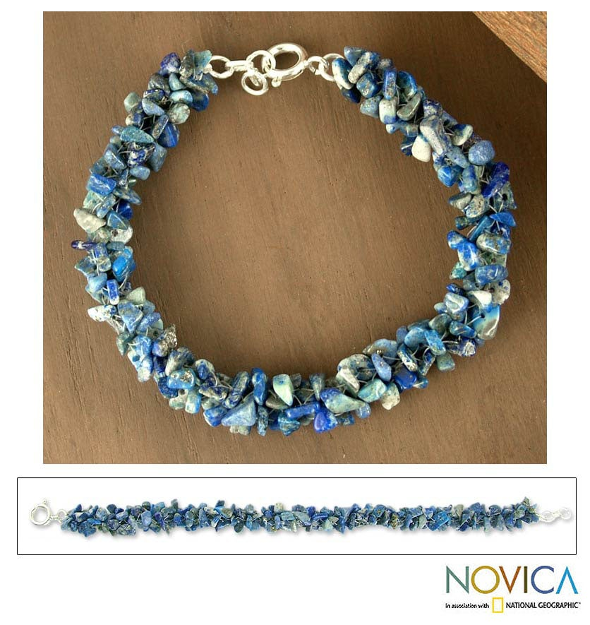 Sterling Silver 'Sea Song' Lapis Lazuli Beaded Bracelet (India)