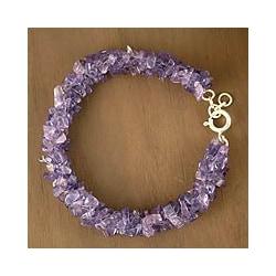 Sterling Silver 'Lovely Lilacs' Amethyst Beaded Bracelet (India)