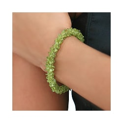 Sterling Silver 'Summer Fields' Peridot-beaded Bracelet (India)