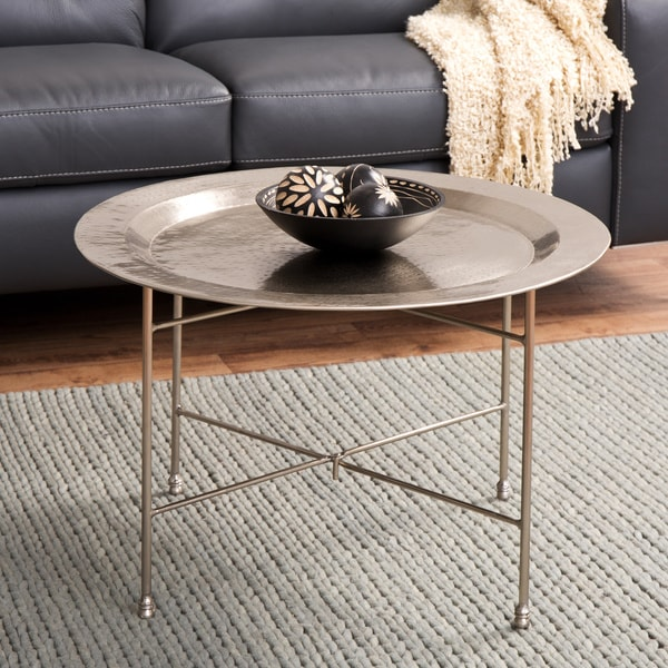 Antique nickel coffee table india 12627109 overstock for Top rated coffee tables