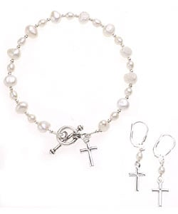 Sterling Essentials Sterling Silver 7-inch Cultured Pearl Cross Earring and Bracelet Set
