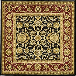 Lyndhurst Collection Majestic Black/ Red Rug (8' Square)