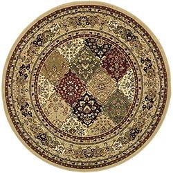 Lyndhurst Collection Multicolor/ Beige Rug (5' 3 Round)