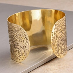 Hand-crafted Nickel-plated Brass Filigree Cuff Bracelet (India)
