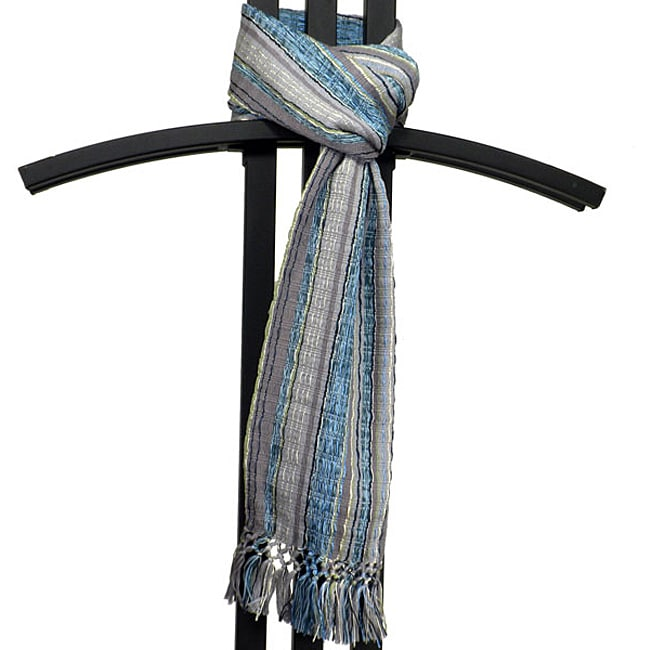 Backstrap-loomed Blue/ Grey San Juan Scarf (Guatemala)