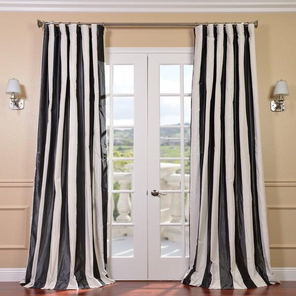 Signature Stripe Faux Silk Taffeta 84-Inch Black and White Curtain Panel