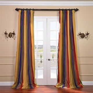 Signature Stripe Faux Silk Taffeta 50x96-inch Curtain Panel