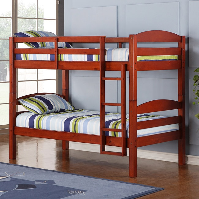 Solid Wood Cherry Twin Bunk Bed Kids Furniture Toddler