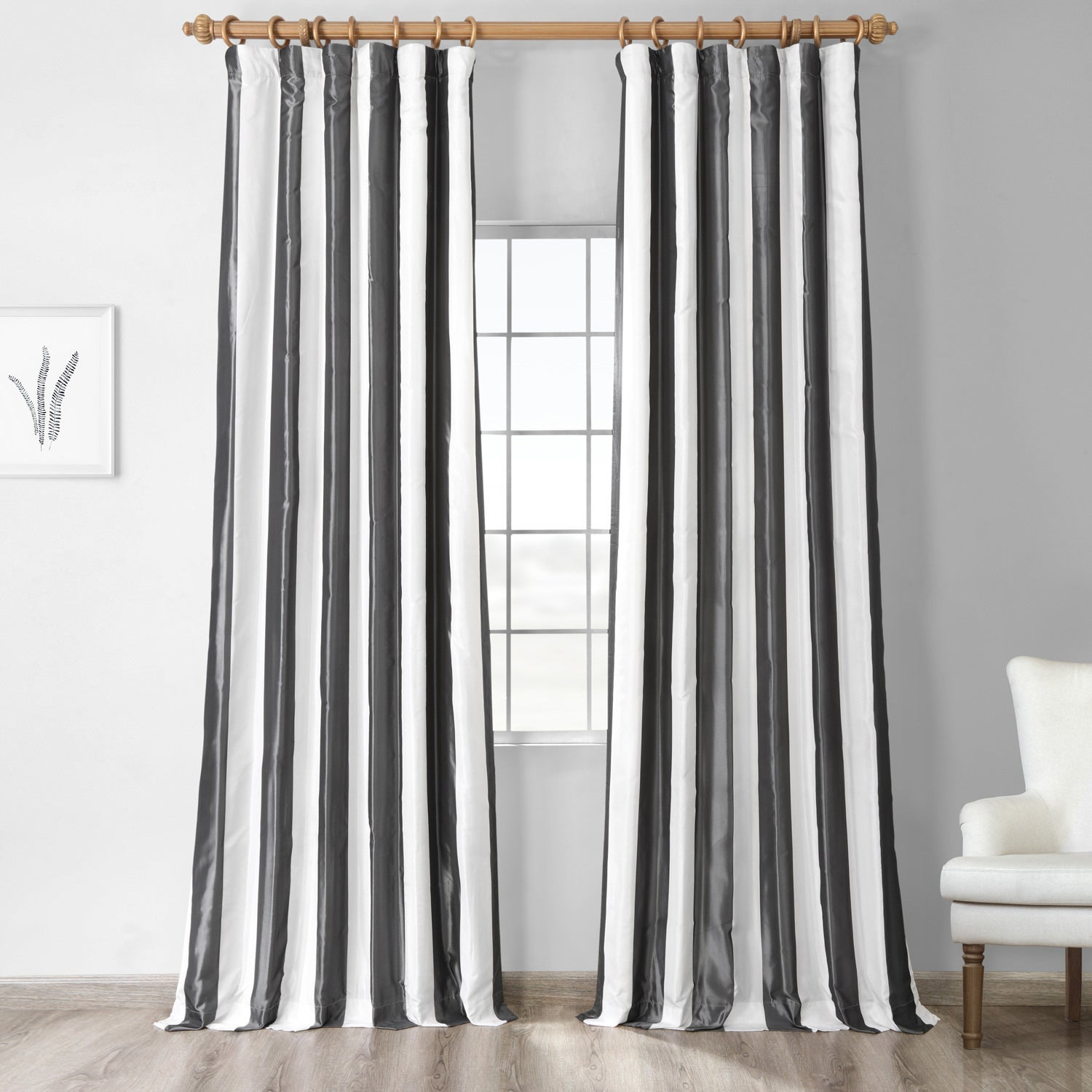 Signature Stripe Faux Silk Taffeta 96-inch Curtain Panel at Sears.com