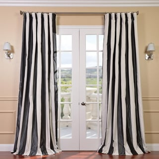 Signature Stripe Dark Grey/ White Faux Silk Taffeta Curtain Panel